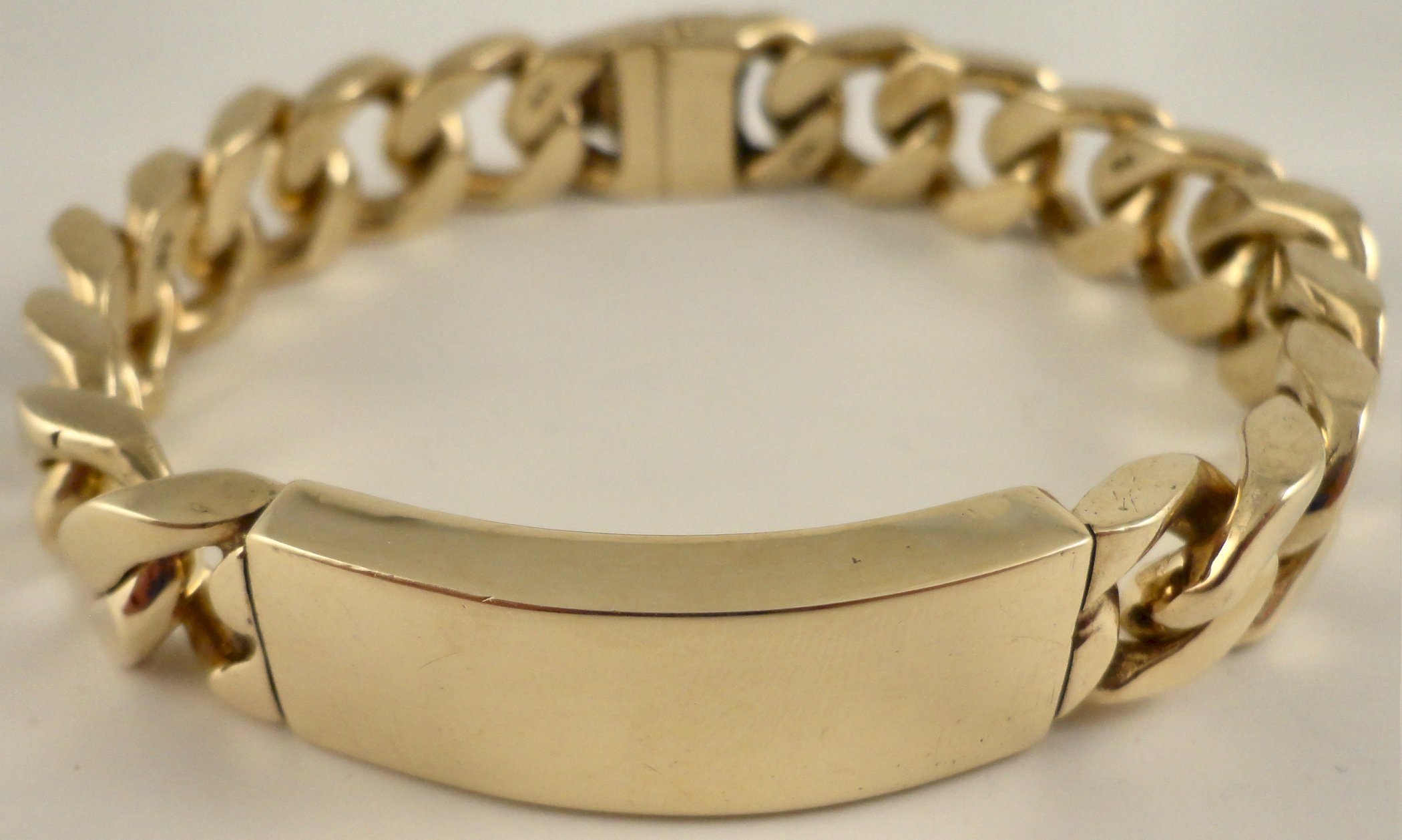 Gents heavy 9ct solid gold 8 5 inch i d bracelet hm 375 - 375 gold ...