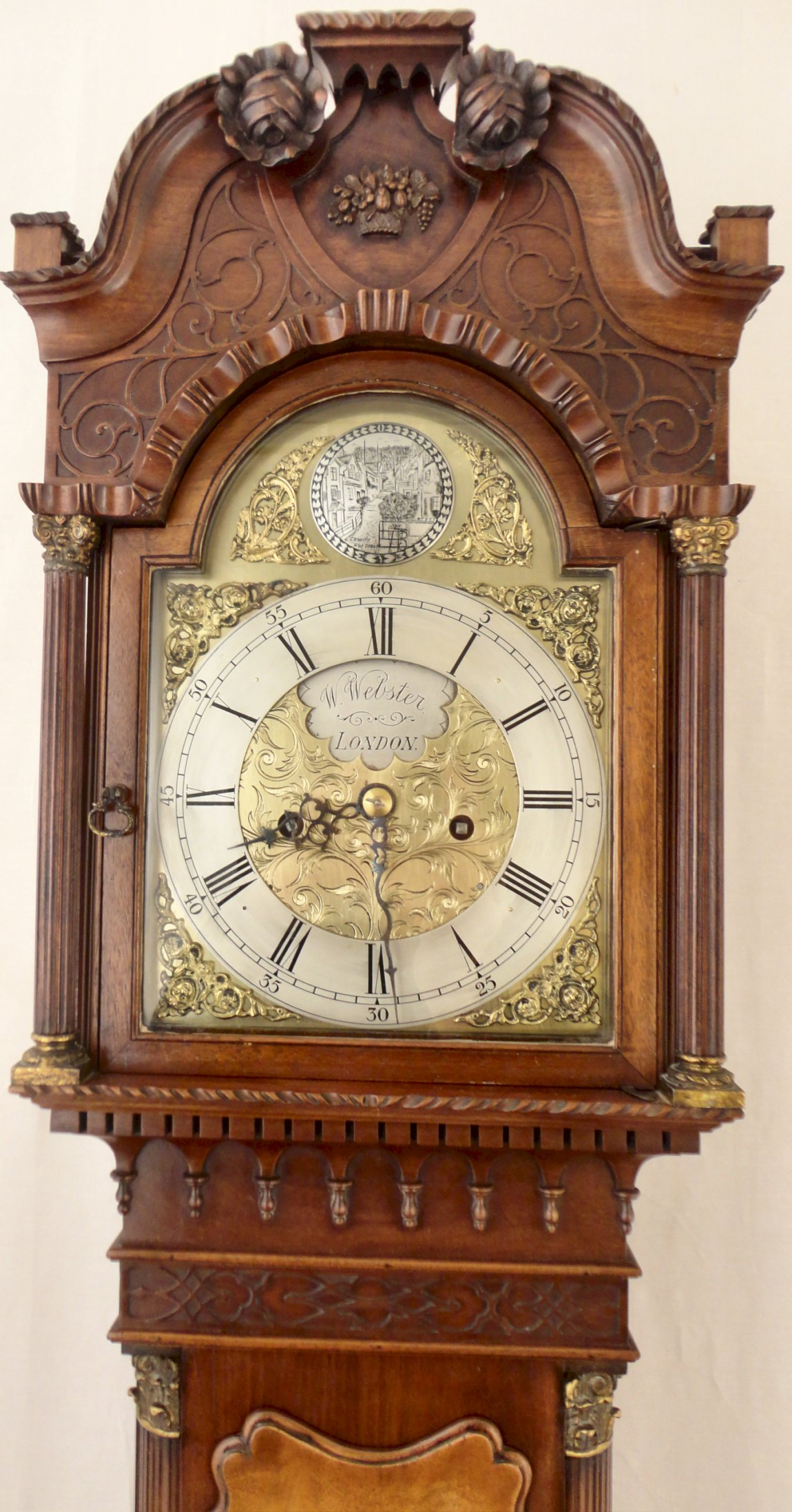 Small Antique Mahogany Georgian Style Longcase Clock Circa