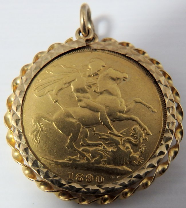 22ct solid gold british victorian full sovereign pendant dated 1890 enquire about this item aloadofball Image collections
