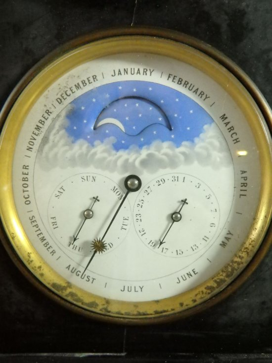 Antique French Marble Calendar Mantel Clock With Moons