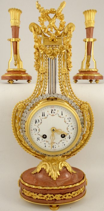 Antique French Ormolu Lyre Clock Garniture With Swinging