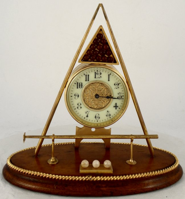 Antique Novelty Desk Clock in the form of a Billiards Set - Antique Novelty Desk Clock In The Form Of A Billiards Set Ian