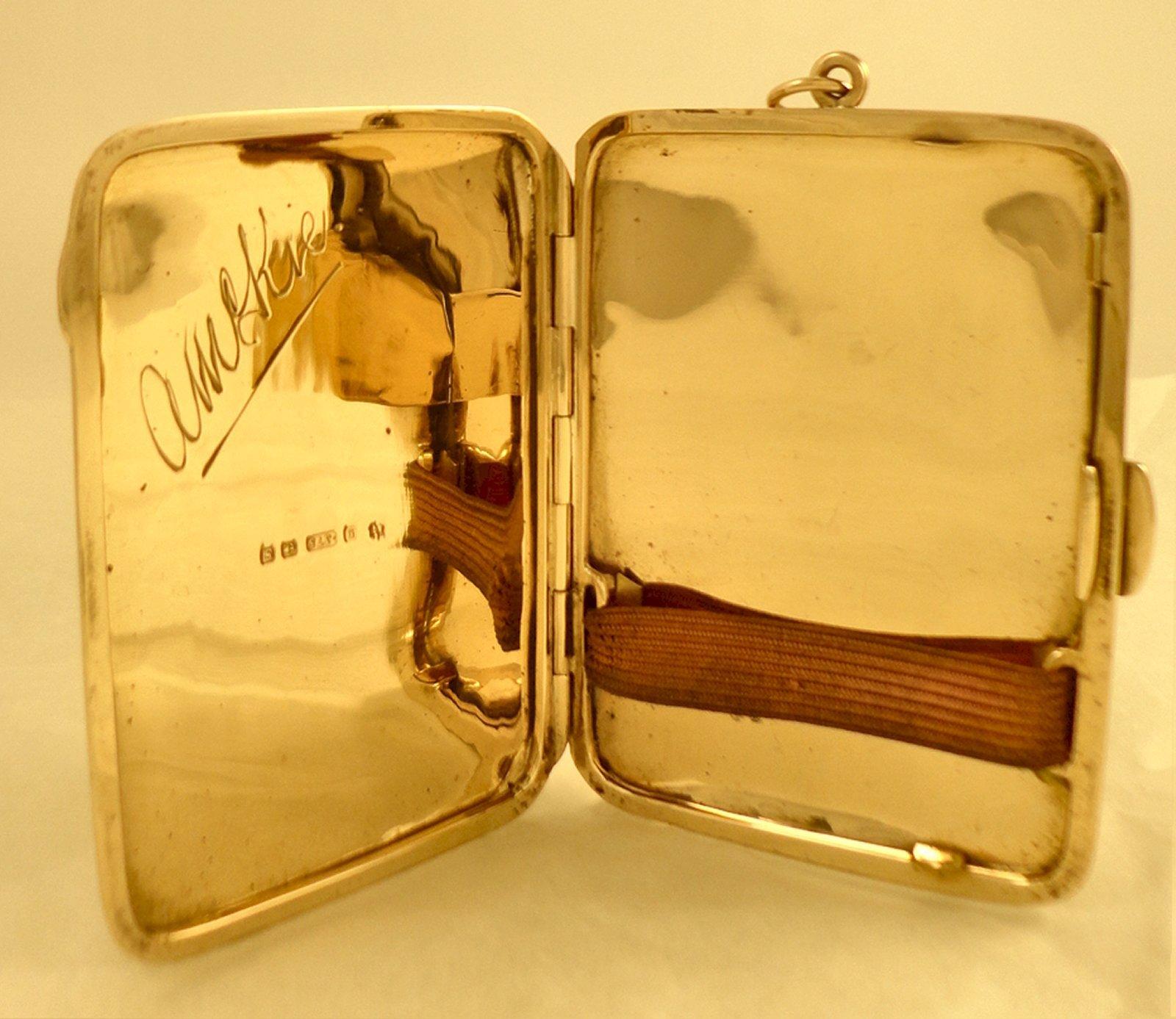 Italian Gold Chain >> VINTAGE 9CT SOLID GOLD HALLMARKED CIGARETTE or CARD CASE   Ian Burton Antique Clocks